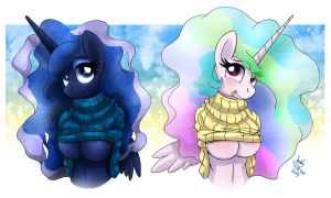 MLP FIM - Smexy Princess Luna And Celestia Sisters by Joakaha