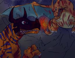 Charizard VS Greymon by rubymight