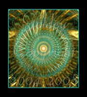 Turquoise and Gold Circle by Goldey--Too