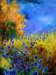 blue cornflowers with orange t by pledent