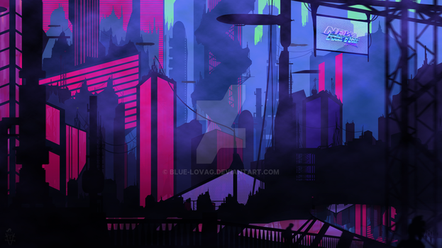 DIGITAL PAINT - Vaporwave / Retro City - 11 Images by Blue-Lovag