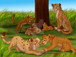 Cheetah Family Romp - Commission by Nala15