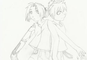 Edward Elric and Len Kagamine by icemirror