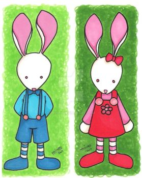 Cute rabbit couple by Inushi