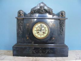Old Fancy Black Clock by Gracies-Stock