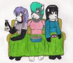 Anne, Lyne, and Penny's Winter Sofa Night by Cyberboy7000