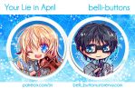 Your Lie in April Buttons by jinyjin