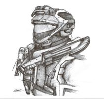 Halo Reach Spartan Pen Sketch by InkTheory-Design