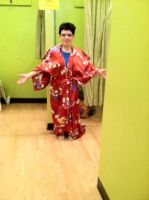 Me in a kimono at Avalon exchange by giantstorylover