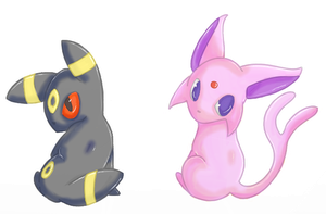 UMBREON AND ESPEON by CrescentMarionette