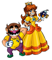 Wario and Daisy - An Explosive Team by kamon-san
