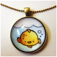 Gold Fish In A Bowl Necklace by cellsdividing