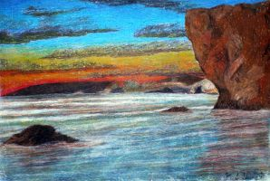 Pismo Beach in Oil Pastel by Hudizzle