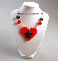 Perler Necklace - Gothic Heart by MelodyMaid