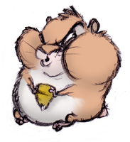 Disgruntled Hamster with Corn by ShoJoJim