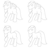 Free Lineart - 4 pony types JPG and PNG download by CassidyPeterson