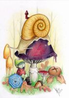 Mr Snail likes mushrooms by squidmaiden