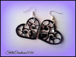 black heart earrings-polymer clay by gothicstella