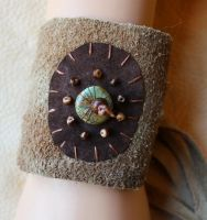 Real turquoise and recycled leather bracelet by lupagreenwolf