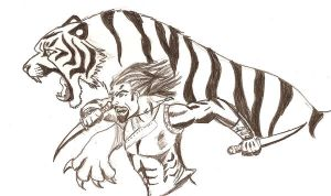 The Tiger of Atlantis-Sketch by RedTigress