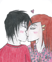 Couple Kissing. by Lenaleekitkat