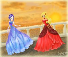 Nevie and Kokoa in ball gowns by ICassidyI