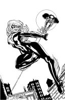 blackcat and spidey cover inkd by spidey0318