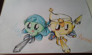 Water and Electric Swords by GalaxyKirbyStar
