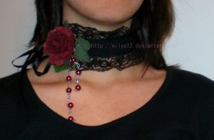 Dark rose choker by Wilya12
