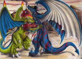 A battle of giant dragons by QueenTurchese94