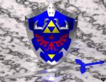 3D Master Sword and Hylian Shield by Princessdawn3D