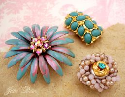 3 blue pink flower jewelry mag by janedean