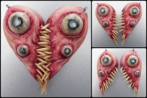 Meat heart bff interlocking pendant set by dogzillalives