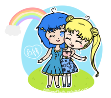 .:Gift:. Ami and Usagi by PeppermentPanda