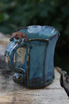 Red Toad on a Blue Mug by ClayCreatureComforts