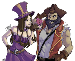 Caitlyn and Gangplank: Vday Commission 2 of 2 by ippylovesyou