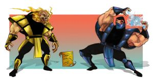 Scorpion VS Sub-zero Cartoon by jorcerca
