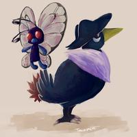 Day 1 and 2: Butterfree and Honchkrow by Tokiball12345