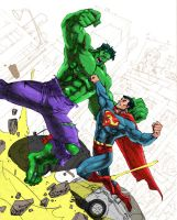 superman vs hulk by jnano