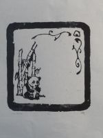 Single Colour Woodcut Print Panda by BlueLumi