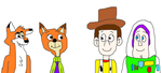 Nick and Jeff Meeting Woody and Buzz by MichaelSquishyEddy89