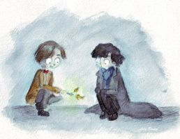 Eleven and Sherlock by Lily-Poulp