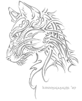Tribal Cat Head by KMoongangSR