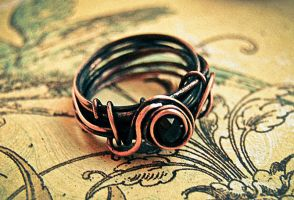 ring from copper and garnet by honeypunk