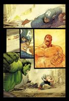 Hulk smash Captain America in color by StephaneRoux
