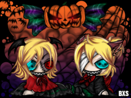 Rin And Len Halloween by Hungry-Invader