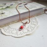 Red necklace with real leaf by WhiteSquaw