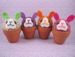 Summer Bunny Flower Pot Set by AmiTownCreatures