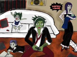 Beastboy and Raven by lesliemint