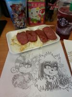 spam and eggs over rice with drawings by Bstar-Cuddles